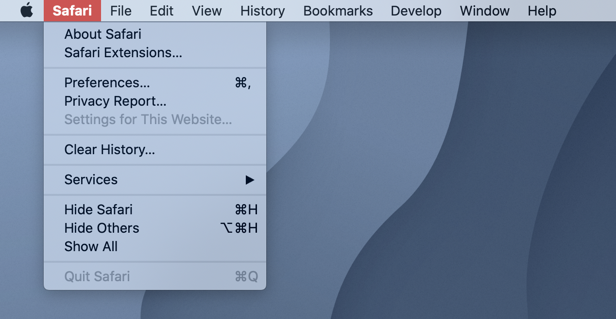 A screenshot of the Apple Safari menu bar. 'Quit Safari' is mysteriously greyed out.
