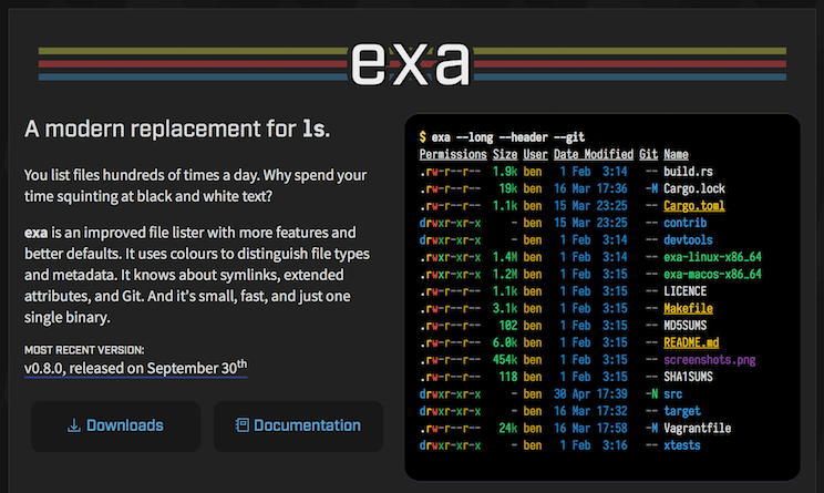 Screenshot of exa