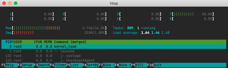 A screenshot of htop.