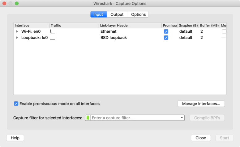A screenshot of Wireshark, with fewer interfaces than last time.