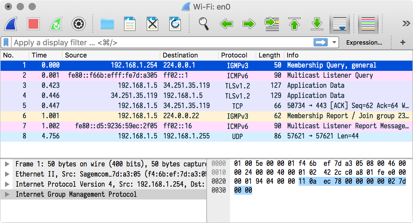 A screenshot of Wireshark after tweaking its appearance.